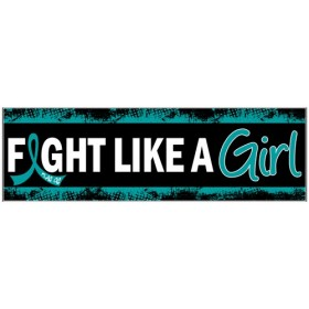 """Fight Like a Girl Hybrid"" Bumper Sticker - Black w/ Teal"