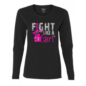"""Fight Like a Girl Knockout"" Ladies Long-Sleeved T-Shirt - Black w/ Pink"
