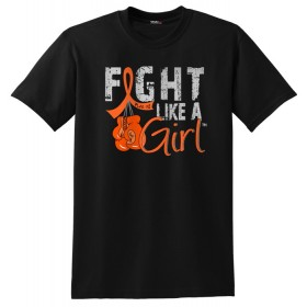 """FIght Like a Girl Knockout"" Unisex T-Shirt - Black w/ Orange"