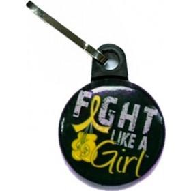 """Fight Like a Girl Knockout"" Zipper Pull - Black w/ Gold"