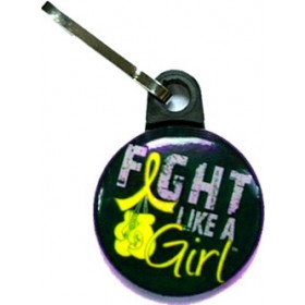 """Fight Like a Girl Knockout"" Zipper Pull - Black w/ Yellow"