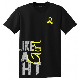 """Fight Like a Girl Side Wrap"" Unisex T-Shirt - Black w/ Yellow"