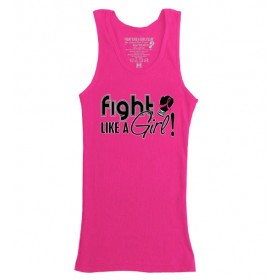 """Fight Like a Girl Signature"" Boy Beater Tank Top - Hot Pink"