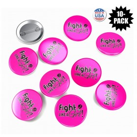 """Fight Like a Girl Signature"" Round Button Breast Cancer - Hot Pink (10 Pack)"
