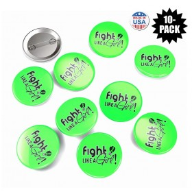"""""""Fight Like a Girl Signature"""" Round Button - Lime Green (10 Pack)"""