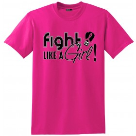 """Fight Like a Girl Signature"" Unisex T-Shirt Breast Cancer - Hot Pink"