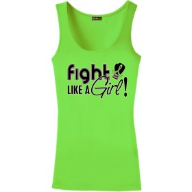 """Fight Like a Girl Signature"" Stretch Tank Top - Lime Green"