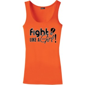 """Fight Like a Girl Signature"" Stretch Tank Top - Orange"