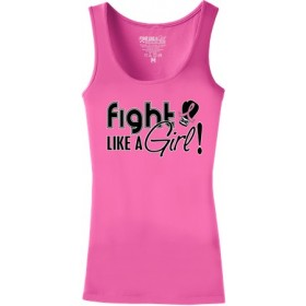 """Fight Like a Girl Signature"" Stretch Tank Top - Hot Pink"