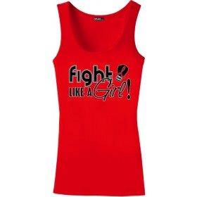"""Fight Like a Girl Signature"" Stretch Tank Top - Red"
