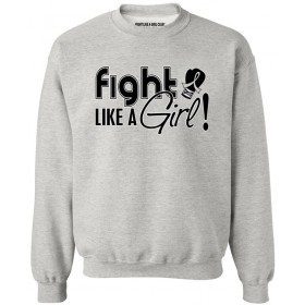 """Fight Like a Girl Signature"" Unisex Sweatshirt - Heather Grey"