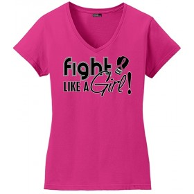 """Fight Like a Girl Signature"" Ladies V-Neck T-Shirt - Hot Pink"