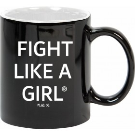 """Fight Like a Girl Statements"" 11 oz Ceramic Mug - Black w/ White"