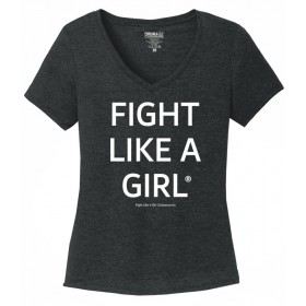 """Fight Like a Girl Statements"" Ladies' V-Neck T-Shirt - Black Frost"