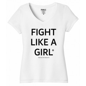 """Fight Like a Girl Statements"" Ladies' V-Neck T-Shirt - White Frost"
