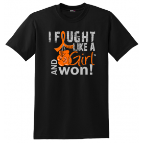 """Fought Like a Girl Knockout"" Unisex T-Shirt - Black w/ Orange"