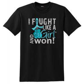 """Fought Like a Girl Knockout"" Unisex T-Shirt - Black w/ Teal"