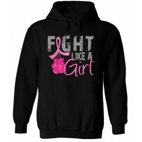 """Fight Like a Girl Knockout"" Unisex Hoodie - Black w/ Pink"