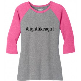 """Fight Like a Girl Hashtag"" Ladies' Raglan T-Shirt - Grey w/ Bubblegum Pink"