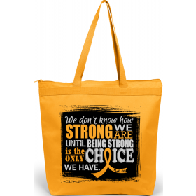 """How Strong We Are"" Darcey Tote Bag - Gold"