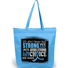 """How Strong We Are"" Darcey Tote Bag - Light Blue"