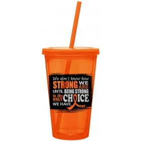 """How Strong We Are"" Acrylic Tumbler - Orange"