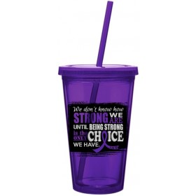 """How Strong We Are"" Acrylic Tumbler - Purple"