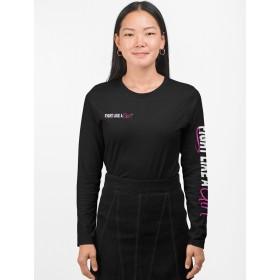 """Fight Like a Girl Hybrid 2"" Ladies Long Sleeve Shirt - Black"
