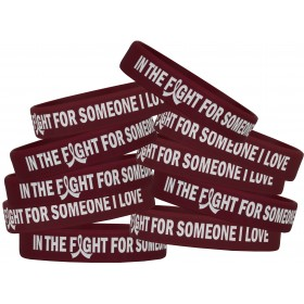 """In the Fight"" Silicone Wristband Bracelet - Burgundy (10 Pack)"