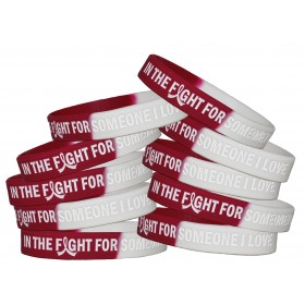 """In The Fight"" Silicone Wristband - Burgundy, White (10 Pack)"