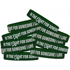 """""""In the Fight"""" Silicone Wristband Bracelet - Emerald Green (10 Pack)"""