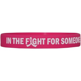 """In The Fight"" Ink-Filled Silicone Wristband Bracelet - Hot Pink"