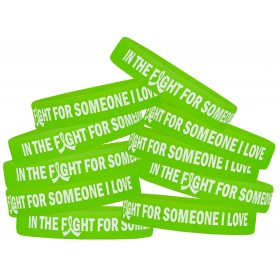 """In The Fight"" Ink-Filled Silicone Wristband - Lime Green (10 Pack)"