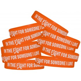 """In The Fight"" Ink-Filled Silicone Wristband - Orange (10 Pack)"