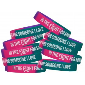 """""""In The Fight"""" Ink-Filled Silicone Wristband - Teal, Purple, Pink (10 Pack)"""