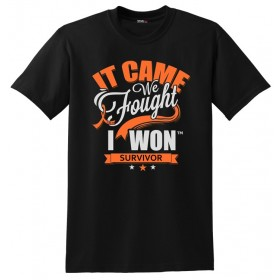 """It Came. We Fought. I Won."" Unisex T-Shirt - Black w/ Orange"