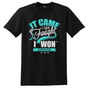 """It Came. We Fought. I Won."" Unisex T-Shirt - Black w/ Teal"