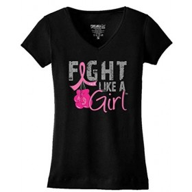 """Fight Like a Girl Knockout"" Ladies V-Neck T-Shirt - Black w/ Pink"
