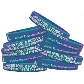 """""""Meant The World To Me"""" Suicide Awareness Silicone Wristband Bracelet - Teal & Purple Tie-Dye (10 Pack)"""