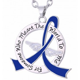 """Meant The World To Me"" Tribute Necklace - Blue Ribbon"