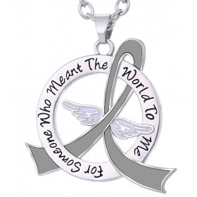 """""""Meant The World To Me"""" Tribute Necklace - Grey Ribbon"""