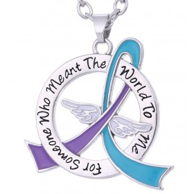 """Meant The World To Me"" Suicide Awareness Tribute Necklace - Teal & Purple Ribbon"