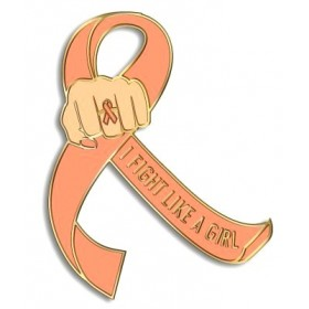 """I Fight Like a Girl Fist"" Lapel Pin - Peach"