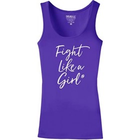 """Fight Like a Girl Script"" Ladies Stretch Tank Top - Purple"