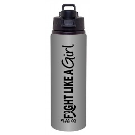 """Fight Like a Girl Hybrid"" Roxy Aluminum Sports Bottle - Graphite"