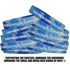"""Supporting Admiring Honoring"" Silicone Wristband - Blue & White Swirl (10 Pack)"