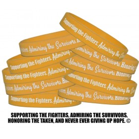 """""""Supporting Admiring Honoring"""" Silicone Wristband - Gold (10 Pack)"""
