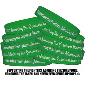 """Supporting Admiring Honoring"" Silicone Wristband - Green (10 Pack)"