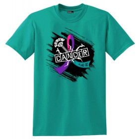 """Screw Cancer"" Unisex T-Shirt - Teal, Purple, Pink"