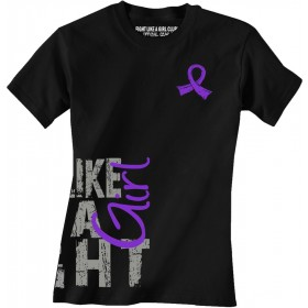 """Fight Like a Girl Side Wrap"" Ladies T-Shirt - Black w/ Purple"
